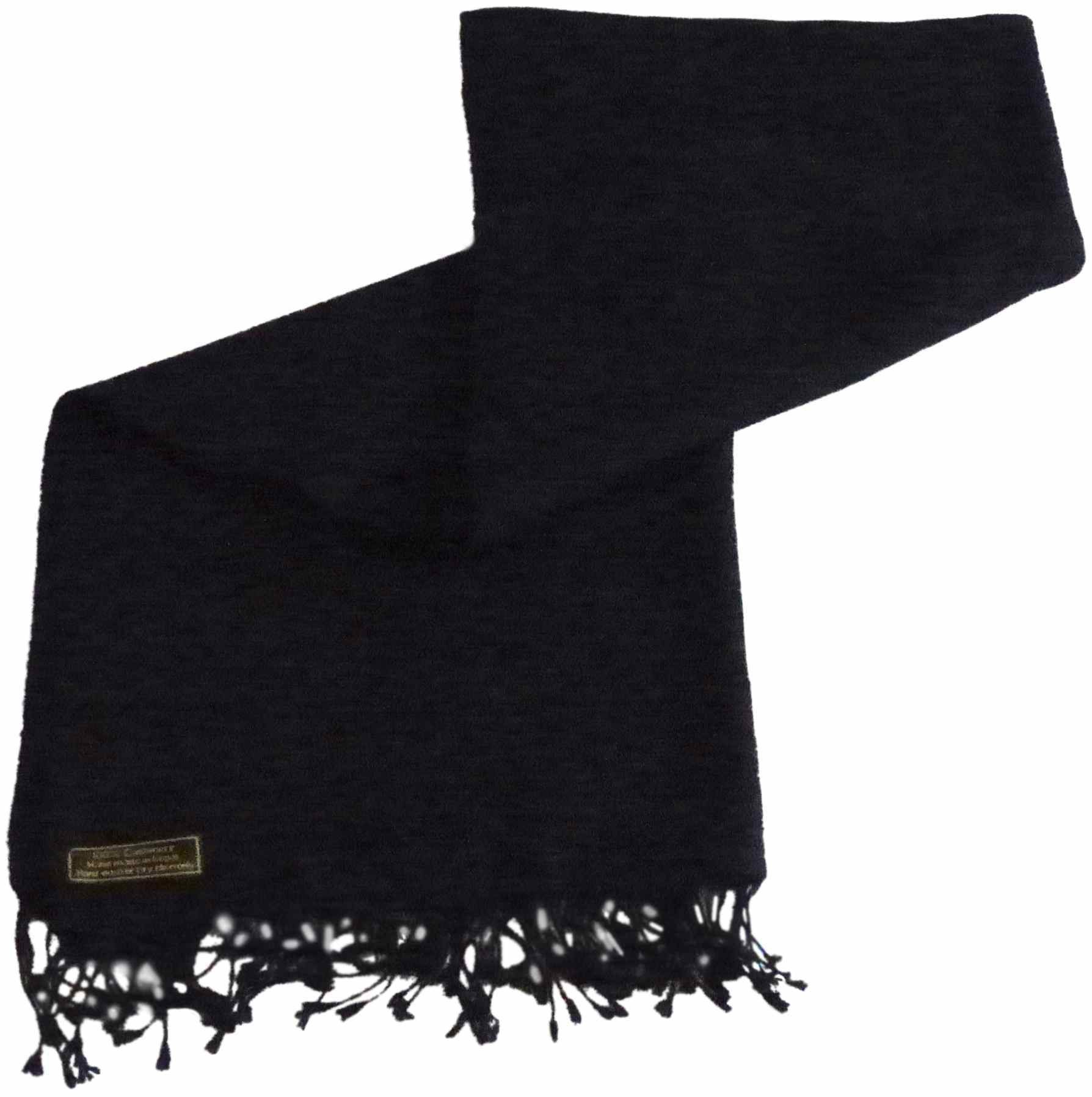 Black High Grade 100% Cashmere Shawl Scarf Wrap Pashmina Hand Made in Nepal NEW