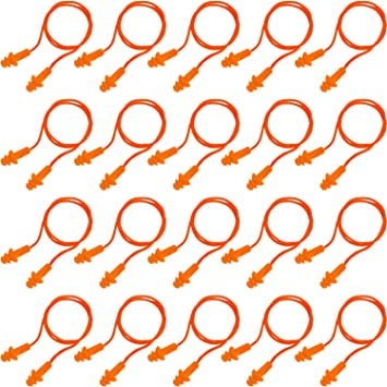 20 Pairs Corded Ear Plugs Reusable Silicone Earplugs Sleep Noise Cancelling for