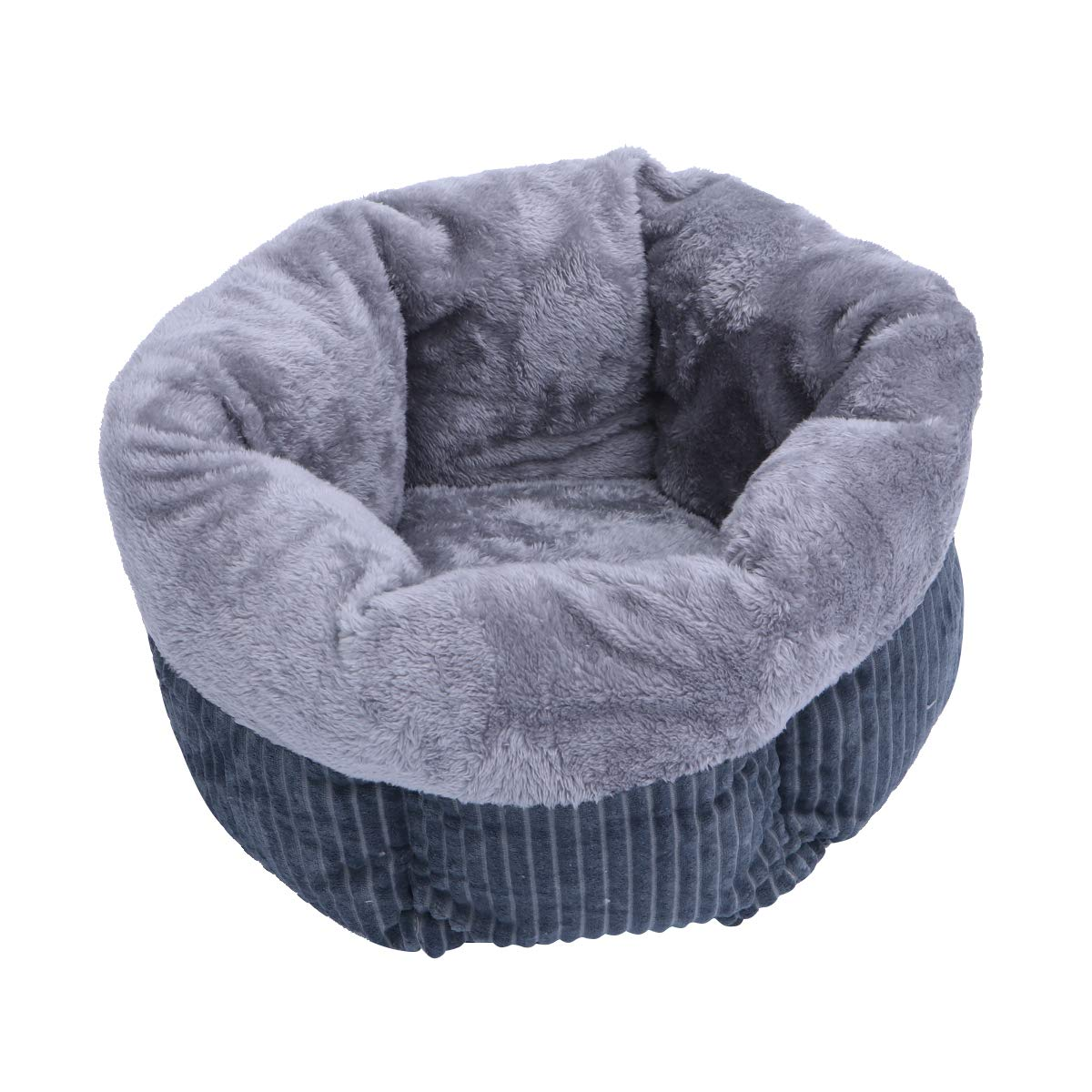 POPETPOP Pet Sleeping Bed Winter Velluto a Coste Caldo Velluto Letto rossoondo Nest Kennel Dog Cat Hous - Taglia M (Grigio)