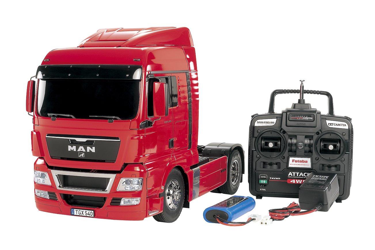 タミヤ 1/14 電動RCビッグトラックシリーズ No.28 MAN TGX 18.540 4 X 2 XLX フルオペレーションセット (4チャンネルプロポ、バッテリー、充電器付き) ラジコン 56328 B005NEHKYC