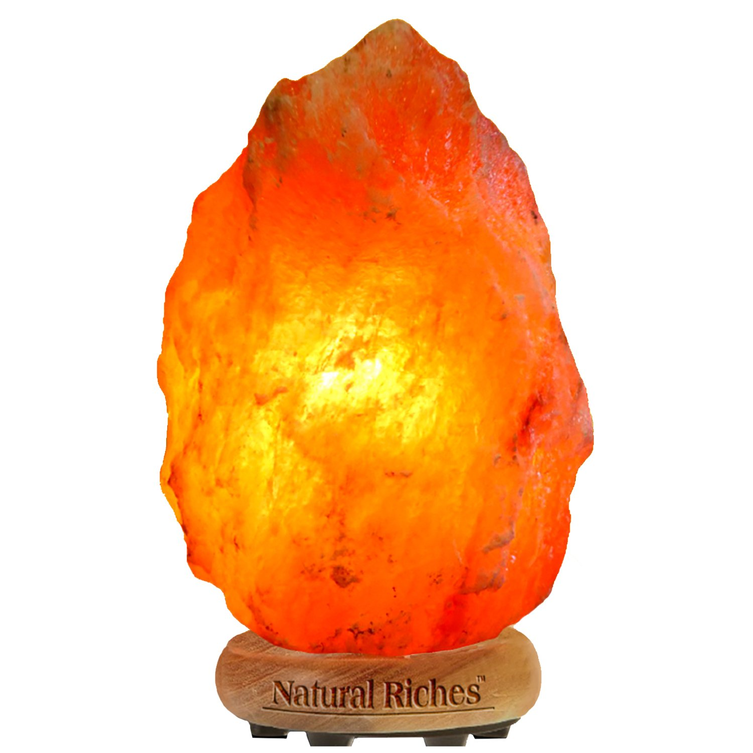 Natural Riches Himalayan Salt Lamp - Hand Carved Natural Himalayan Crystal Salt Rock Lamp, Wooden Base, Brightness Dimmer, 3 Bulbs, UL-Listed Cord and Gift Box - 8-11 lbs