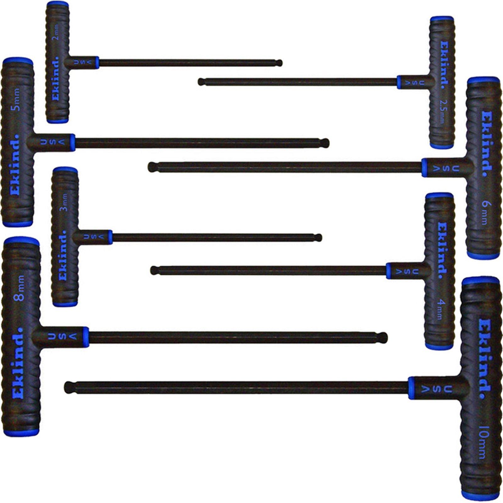 EKLIND 64808 Power-T Handle Ball-Hex Key allen wrench - 8pc set Metric MM sizes 2-10 (9In shaft) by Eklind Tool