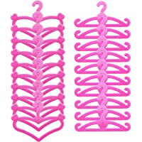 BJDBUS 60 Pcs Pink Plastic Hangers for Barbie Doll Clothes Gown Outfit Holders Accessories