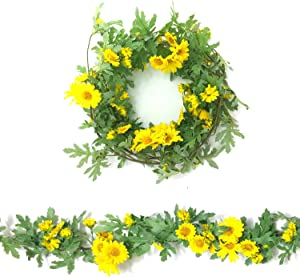 Guagb Artificial Daisy Vine Hanging Sunflower Garland Silk Flowers with Garden Craft Art Party Home Wedding Decor (Yellow)