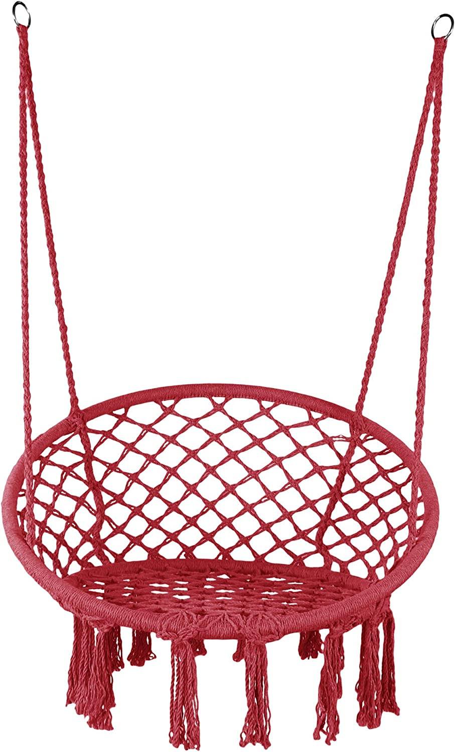 "LAZZO Hammock Chair Hanging Knitted Mesh Cotton Rope Macrame Swing, 260 Pounds Capacity, 23.6"" Seat Width,for Bedroom, Outdoors, Garden, Patio, Yard. Child, Girl, Adult(Red)"