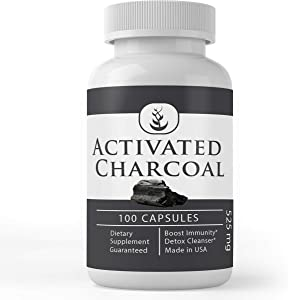 Activated Charcoal (100 Capsules, 525 mg Serving), Odorless & Pharmaceutical Grade Powder Delivered in Fast-Dissolving Capsules for Detox Cleanses*