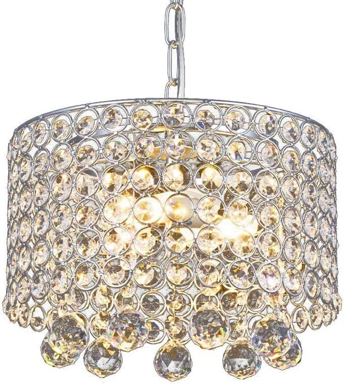 Modern Crystal Chandelier, 3-Light Flush Mount Ceiling Light Fixture 9.8Inches Diameter for Hallway, Dining Room, Bedroom, Living Room, Kitchen