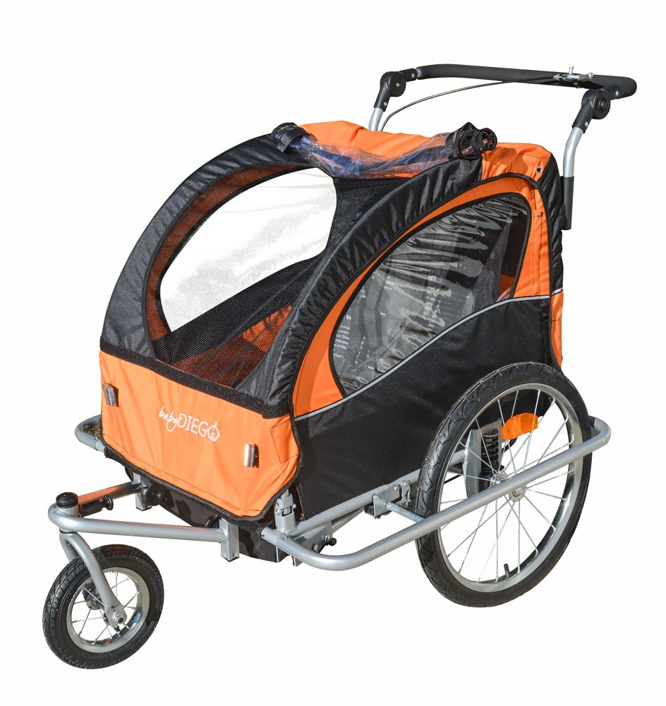 Baby Diego Bike Trailer/Jogger, Orange/Black BTO2015