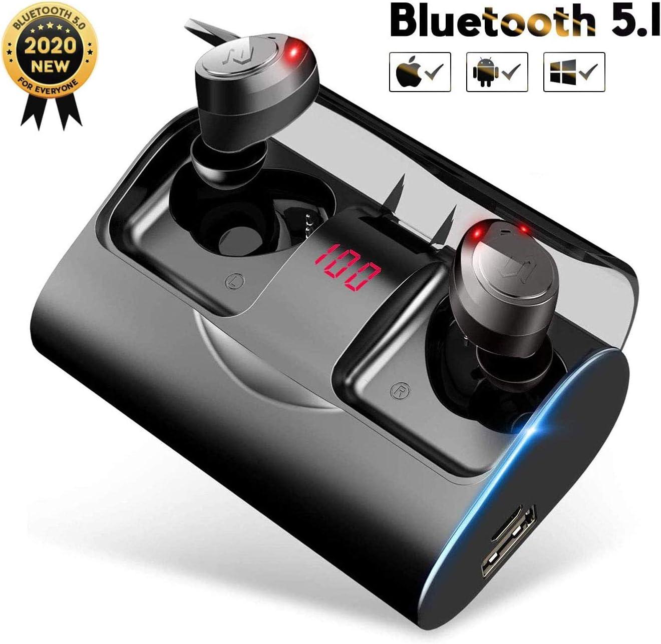 Auriculares Bluetooth, YATWIN Auriculares Inalámbricos Bluetooth 5.1 Estéreo Hi-Fi Sonido IPX7 Resistentes al Agua, 150H Autonomía 3000mAh Estuche de Carga para iPhone y Android