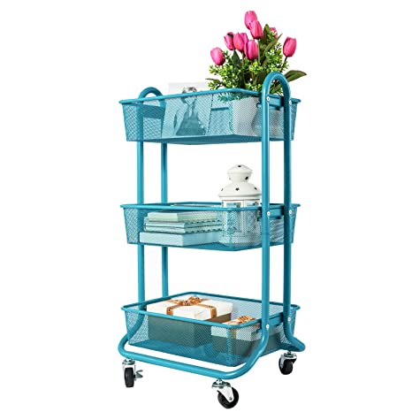 DESIGNA 3 Tier Metal Mesh Rolling Storage Cart With Utility Handle,  Turquoise