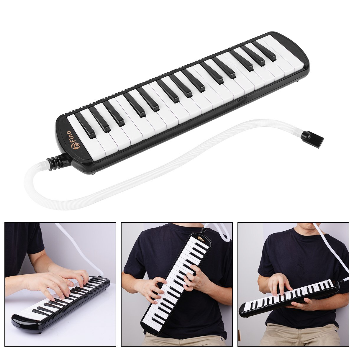 FINO 32 Key Melodica Instrument Air Piano Keyboards Pianica Wind Musical Instrument Folk World Key Instruments with Mouthpiece Tube Set Portable for Music Lover Beginners Gift with Carrying Bag Black by FINO (Image #2)