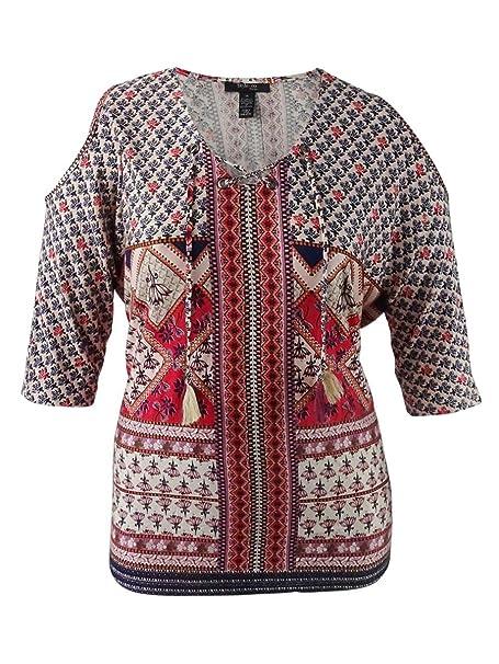 f3dad15d98168 Amazon.com  Style   Co. Women s Plus Printed Cold-Shoulder Peasant ...