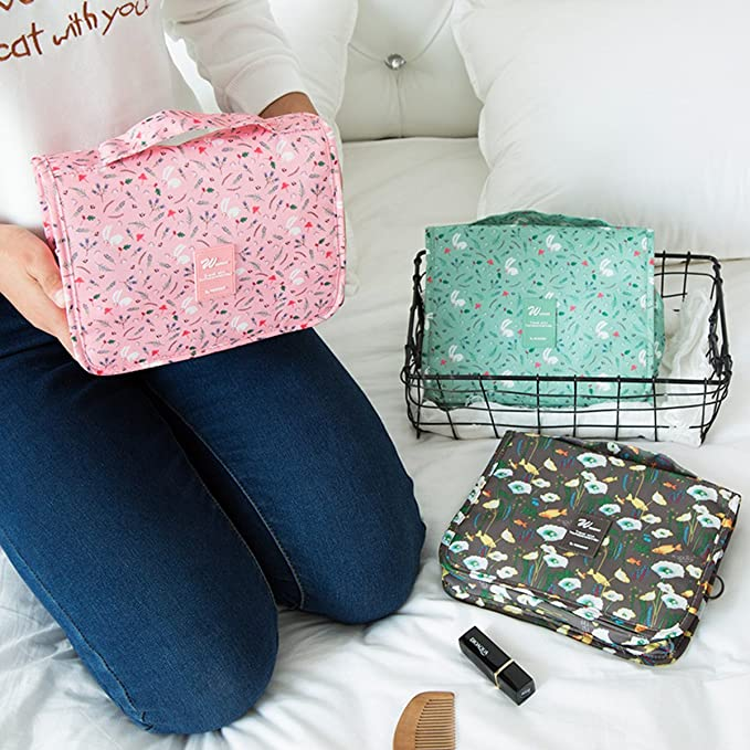 9842fdf8bf Super Modern Supamoden Women s Travel Toiletry Bag Overnight Wash Gym  Shaving Folding Make Up Bags with Hook Organizer Cosmetic  Amazon.in  Bags