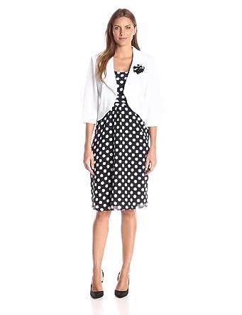 Maya Brooke Women's Dot Print Fit and Flare Jacket and Dress, White