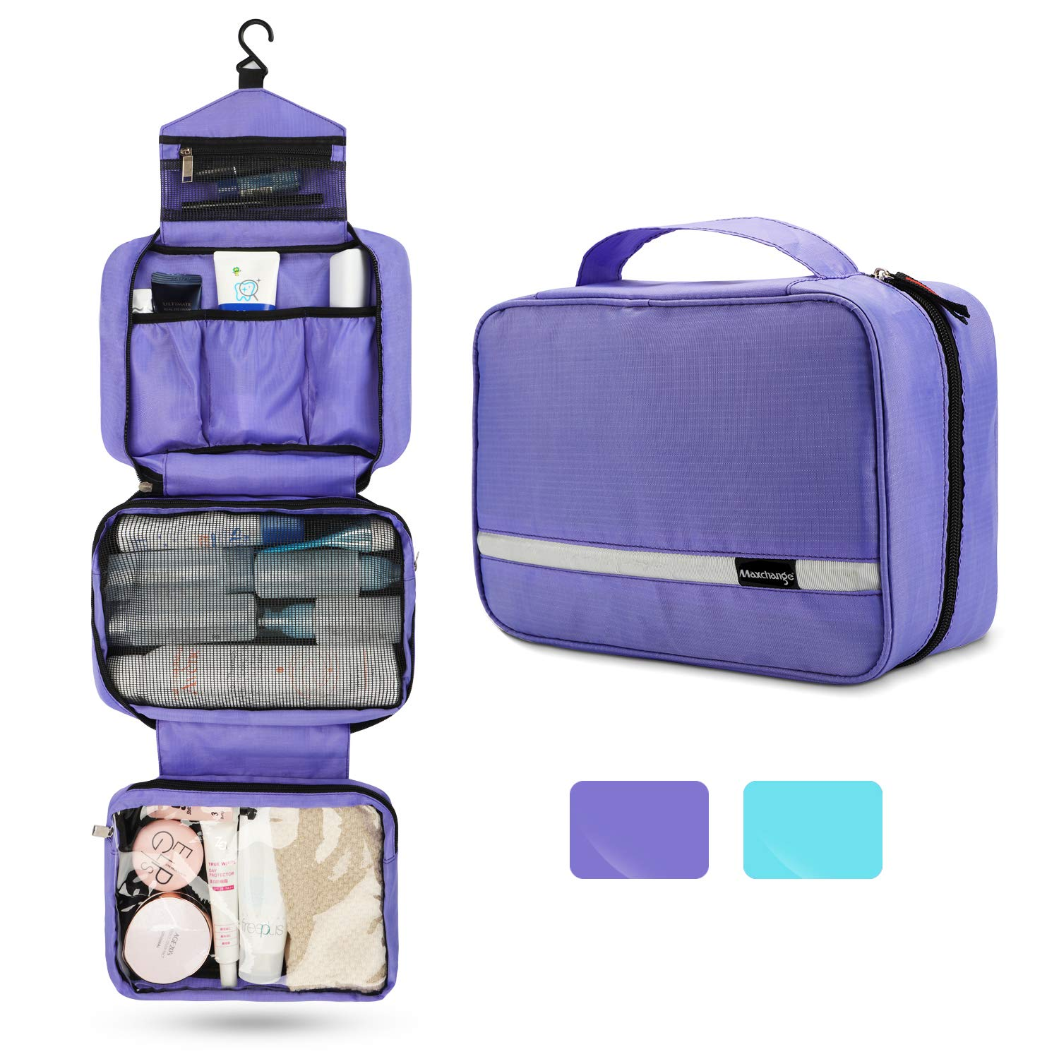 Travel Toiletry Bag for Women, Maxchange Hanging Toiletry Bag with 4 Compartments, Portable and Waterproof Compact travel Bathroom Organizer,Ideal for Travel or Daily Life. Purple