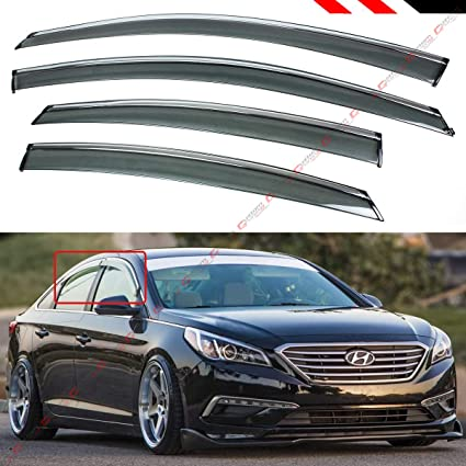 Cuztom Tuning Clip On Type Smoke Tinted Window Visor With Chrome Trim For 2015 2018 Hyundai Sonata Sedan