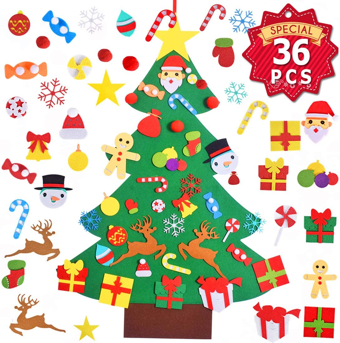 Max Fun Felt Christmas Tree Set DIY 3.2FT with 36 Ornaments Xmas Decoration Home Wall Hanging Children's Felt Craft Kits Party Supplies Gifts for Kids Toddlers