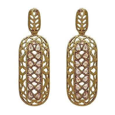 43b26ad2ff Jaipur Mart Bollywood Indian Fashion Alloy Earrings for Women (MFE022WHT):  Amazon.co.uk: Jewellery