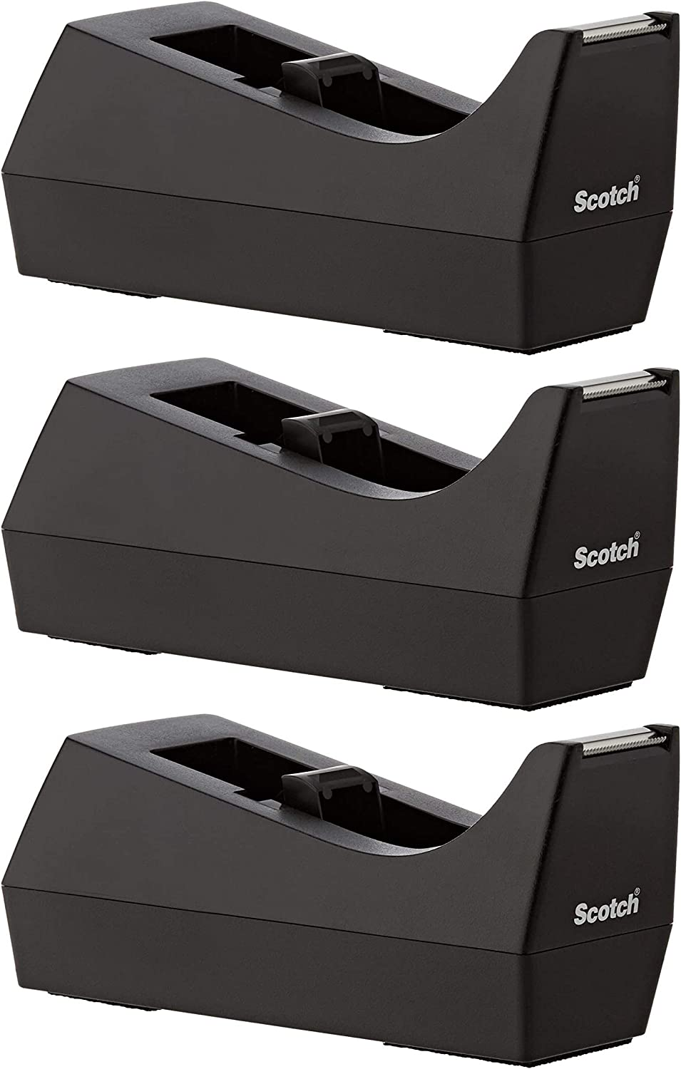 Black ,1 Pack 1 Core Made of 100/% Recycled Plastic 1-Pack Weighted Base Scotch Brand Desktop Tape Dispenser C-38