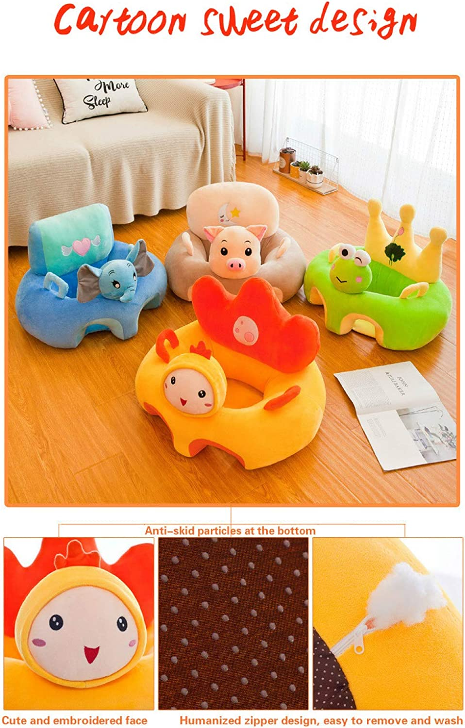 Rugjut Baby Sofa Sitting Seat Animal Cartoon Support Seat Plush Soft Baby Arm Chair Protector Cushion Sit And Play Positioner Sitting For Toddlers Children Kids Infant