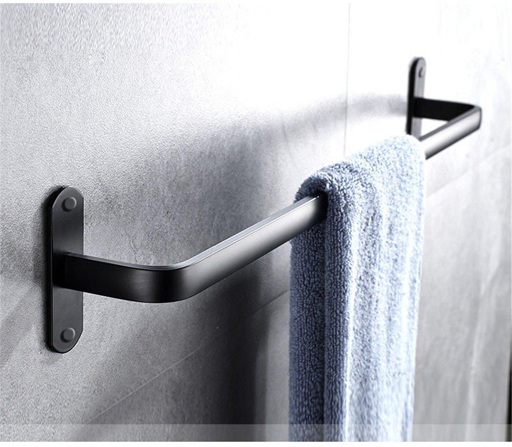 Yomiokla Bathroom Accessories - Kitchen, Toilet, Balcony and Bathroom Metal Towel Ring European Black Space Aluminum Single Lever 40cm