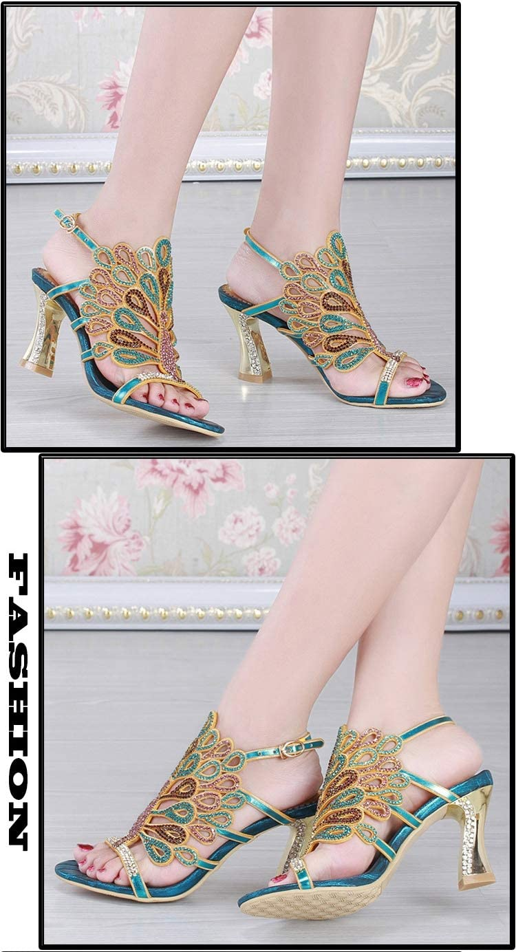 Blue SZF228 Female Summer Rhinestone Sandals high-end Diamond high-Grade Exquisite high-Heeled Shoes Luxury Thick Heel Shoes Large Size Womens Shoes