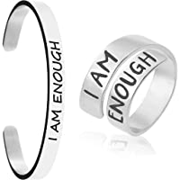 Cuff Bangle Women Inspirational Bracelet Female High Polished Engraved 316 Stainless Steel Positive Quotes Saying Girls