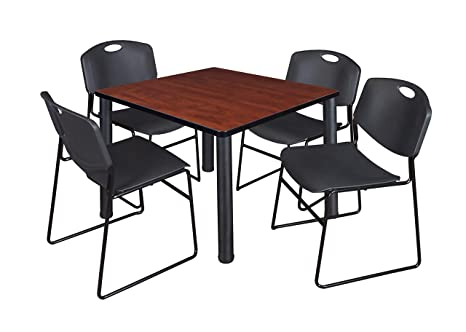 Astounding Amazon Com Kee 36 Square Breakroom Table Cherry Black Forskolin Free Trial Chair Design Images Forskolin Free Trialorg