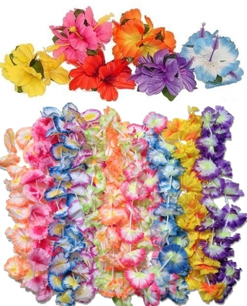 12 jumbo carnation leis 12 hibiscus hair clips luau party pack happy deals