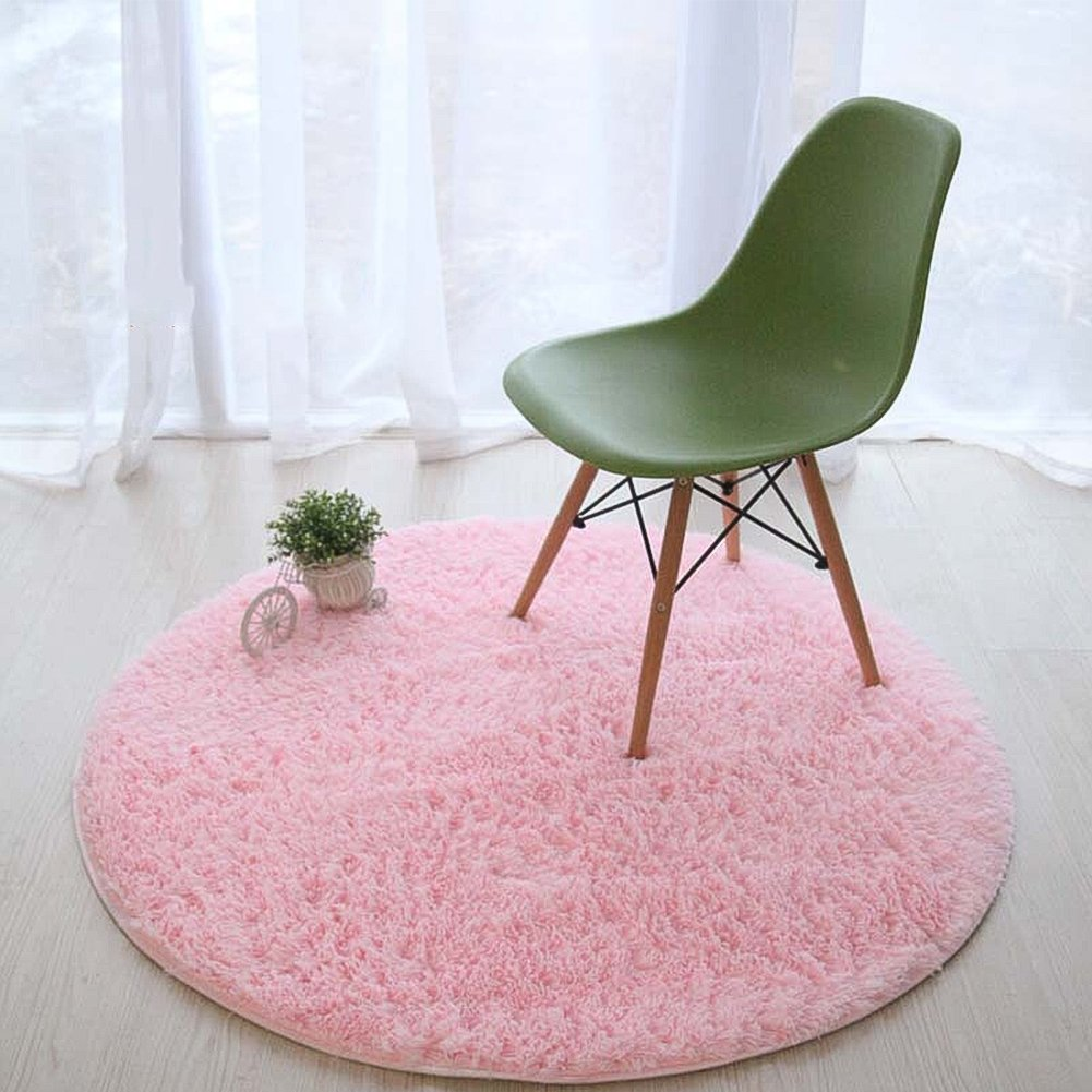 Lee D.Martin Children Area Rugs Ultra Cozy Round Rugs Kids' Room Décor Carpets Modern Shaggy Area Rugs Anti-Slip Backed Home Décor Rug,Diameter 47.3 inches,Pink