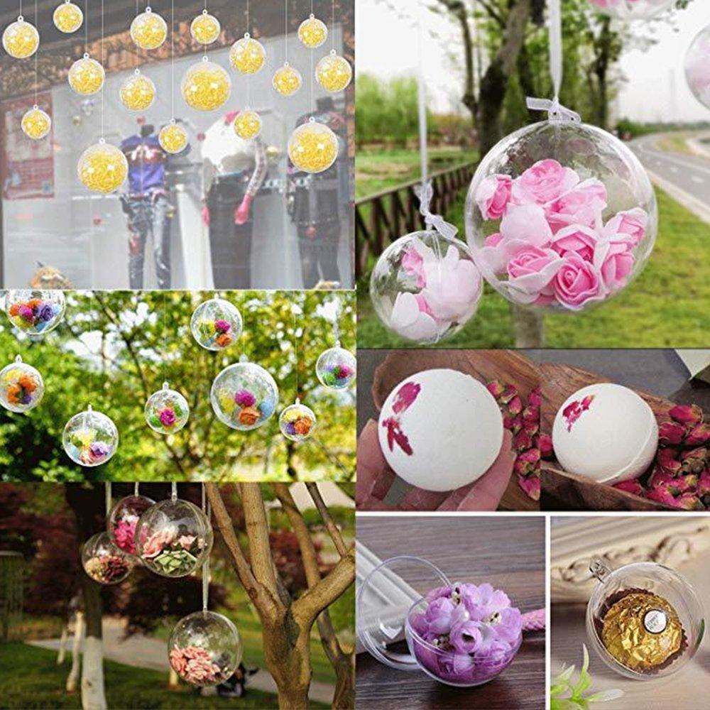 Dee Plus Bolas de Forma Redonda Plástico Transparente para Caja Festiva de Dulces Flor eterna DIY Wedding Venue Pendant, Navidad, Halloween, ...