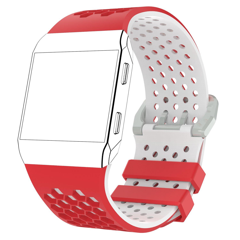 aWinner用スポーツバンドFitbit Ionic、交換用バンド穴あき通気性アクセサリーフィットネスリストバンドファッションストラップfor Fitbit Ionic Smartwatchレディースメンズ B0793325FD レッド&ホワイト Large(6.29''-8.66'')