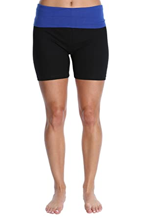31be8ca0d9877 Nouveau Women's Workout Active Yoga Shorts w/Fold Over Waistband - Ladies  Casual Loungewear