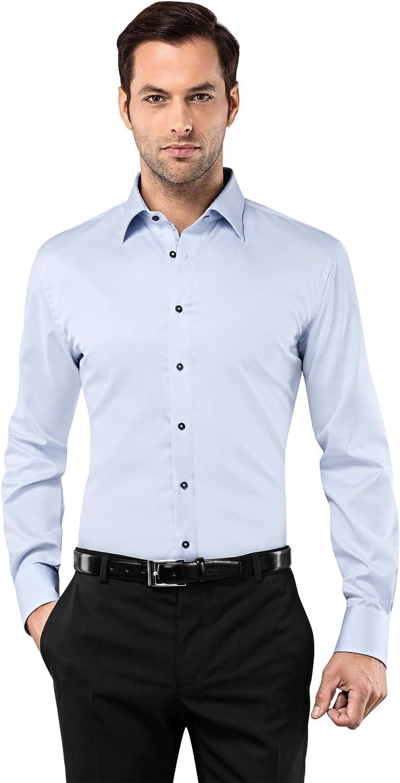 Vincenzo Boretti Camisa de Hombre, Ajustada Entallada (Slim-fit), 100% algodón, Manga-Larga, Cuello Kent, Lisa - no Necesita Plancha
