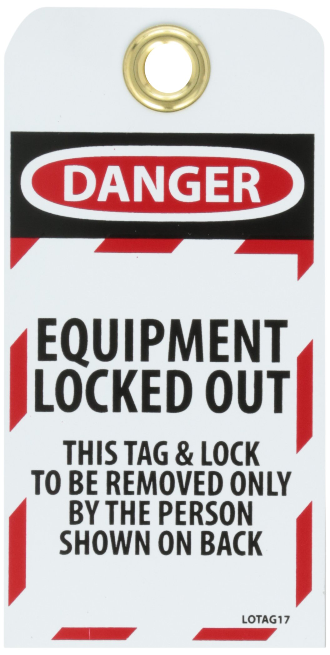 NMC LOTAG17-25''Danger - Equipment Locked-Out'' Lockout Tag, Unrippable Vinyl, 3'' Length, 6'' Height, Black/Red on White (Pack of 25)