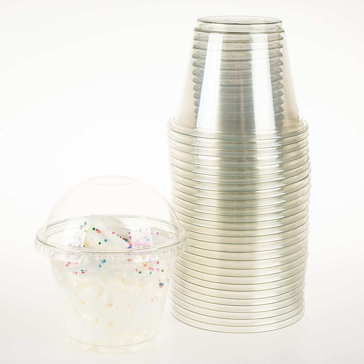 GOLDEN APPLE, 9oz-25sets Clear Plastic Cups with Clear Dome lids No Hole