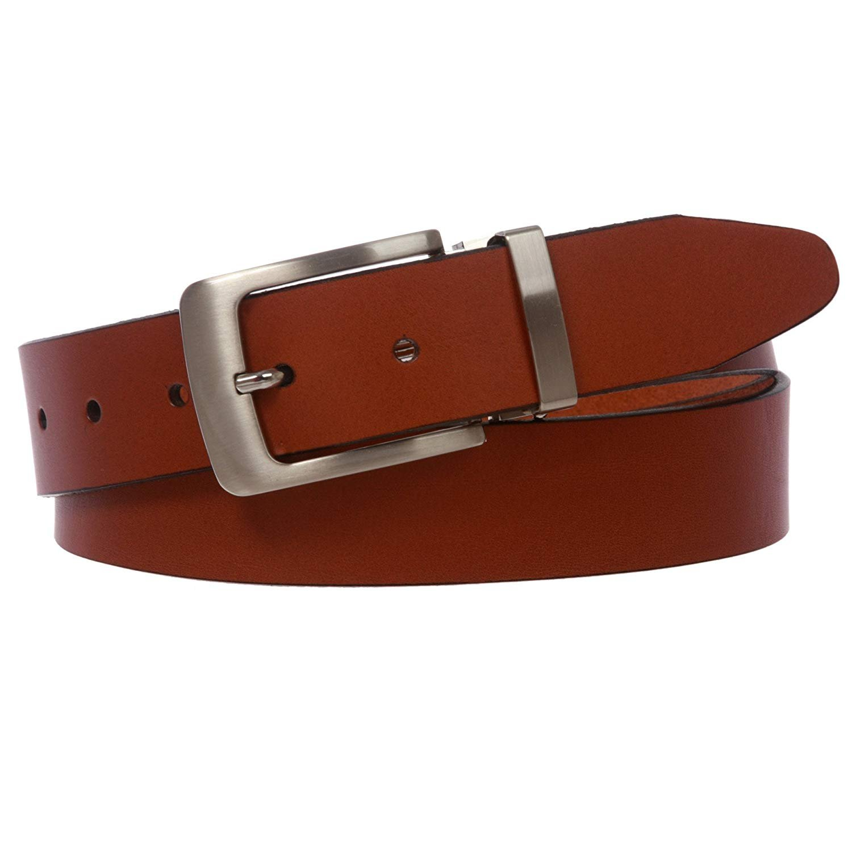 MONIQUE Men Clamp On Italian Leather Dress Satin Silver Tone Finish 32mm Belt