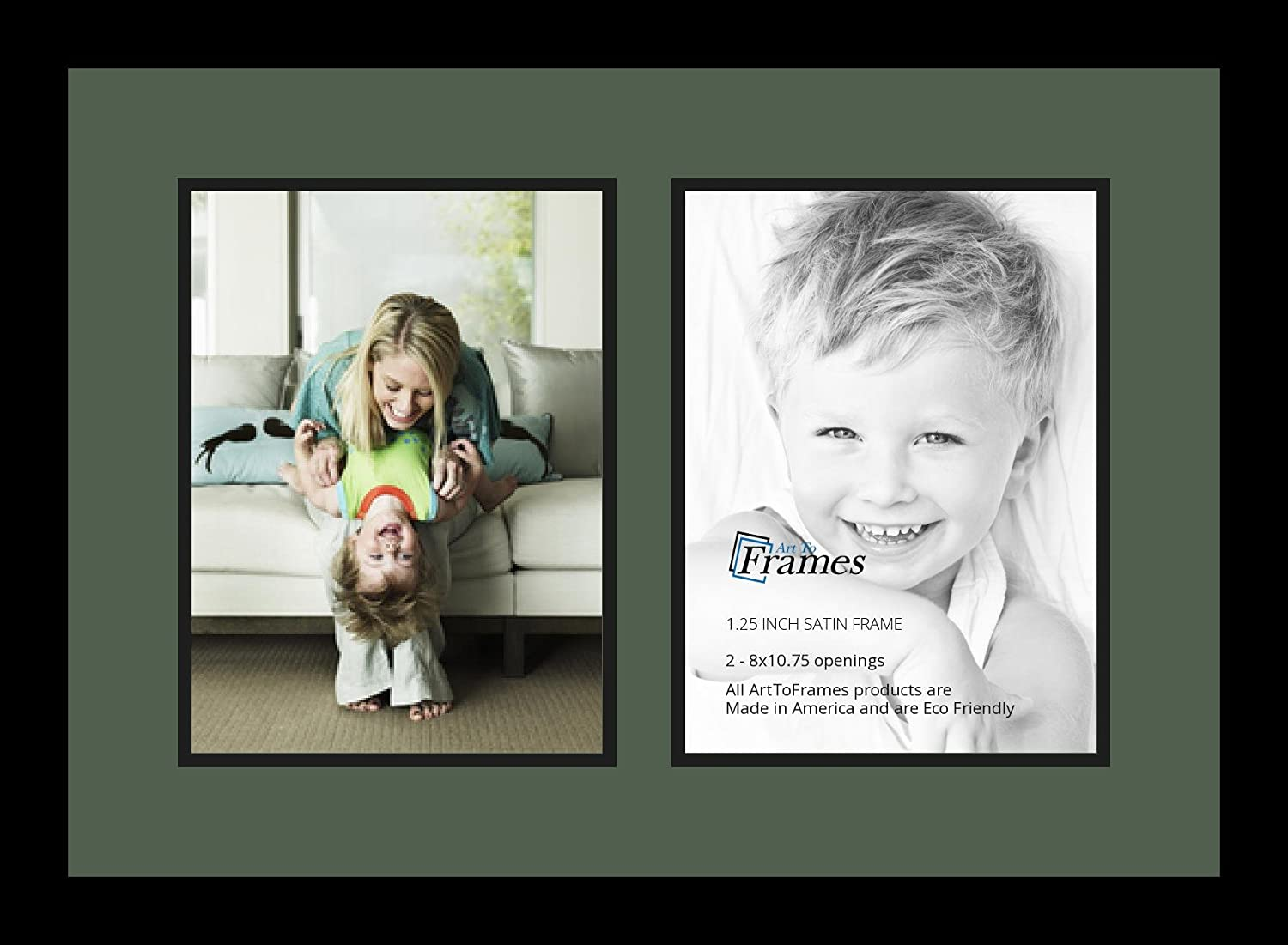 Art to Frames Double-Multimat-1341-868//89-FRBW26079 Collage Photo Frame Double Mat with 2-8x10.75 Openings and Satin Black Frame