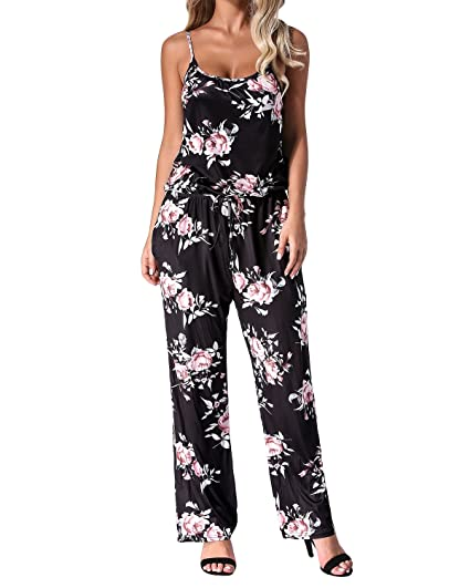 3475662474e Auxo Women Floral Printed Jumpsuit Sleeveless Strap Wide Leg Boho Summer Casual  Long Pants Playsuit Rompers