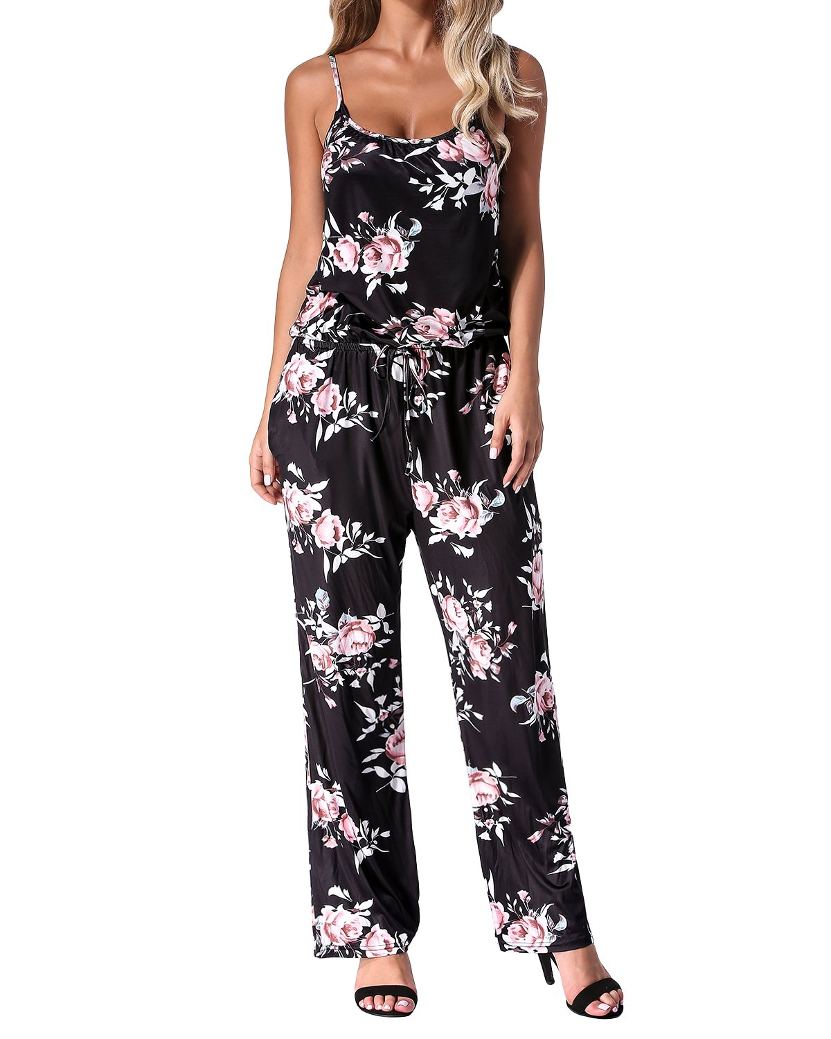Auxo Womens Jumper One Piece Jumpsuit Wide Leg Floral Boho Summer Maxi Romper Playsuit Black XL