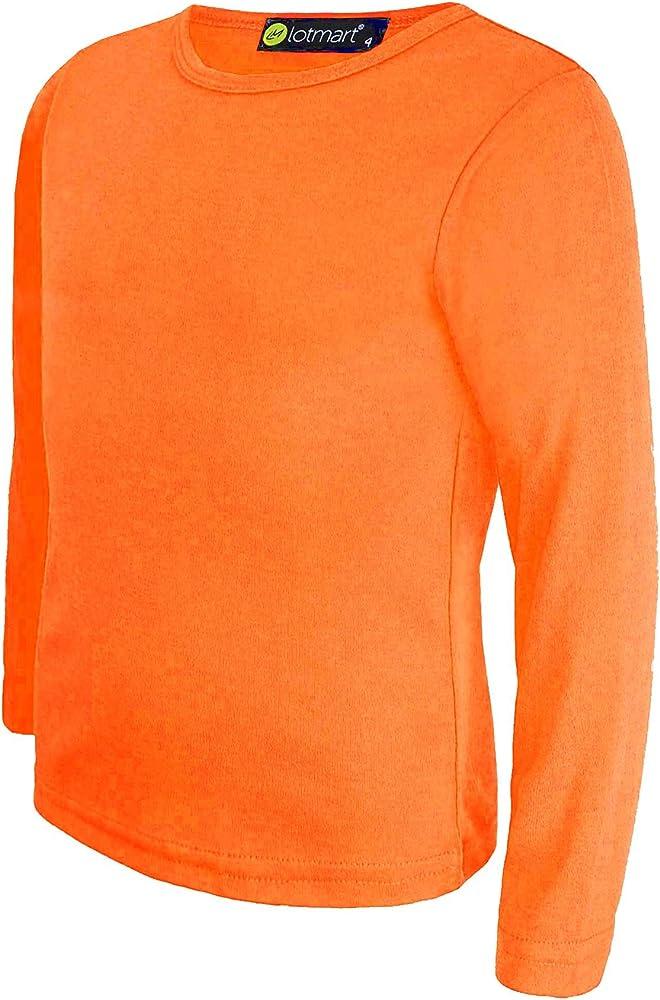 LOTMART Llanura De Niños Top Básico Manga Larga niña Camiseta NIÑO Redondo Uniforme Camiseta y Gratis Regalo Promocional Pluma con Cada Paquete - Naranja, 5-6 Años: Amazon.es: Ropa y accesorios