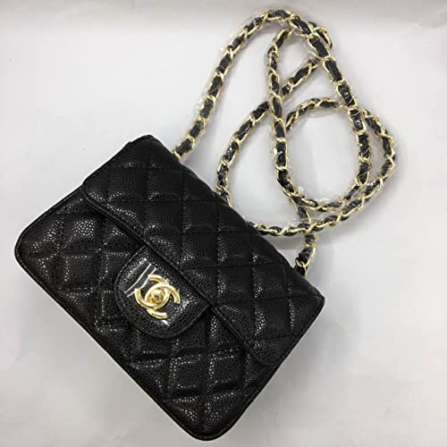 f5a0ac7474ca Chanel classic cf Ling grid pattern lychee pattern black gold black silver  mini Messenger bag (