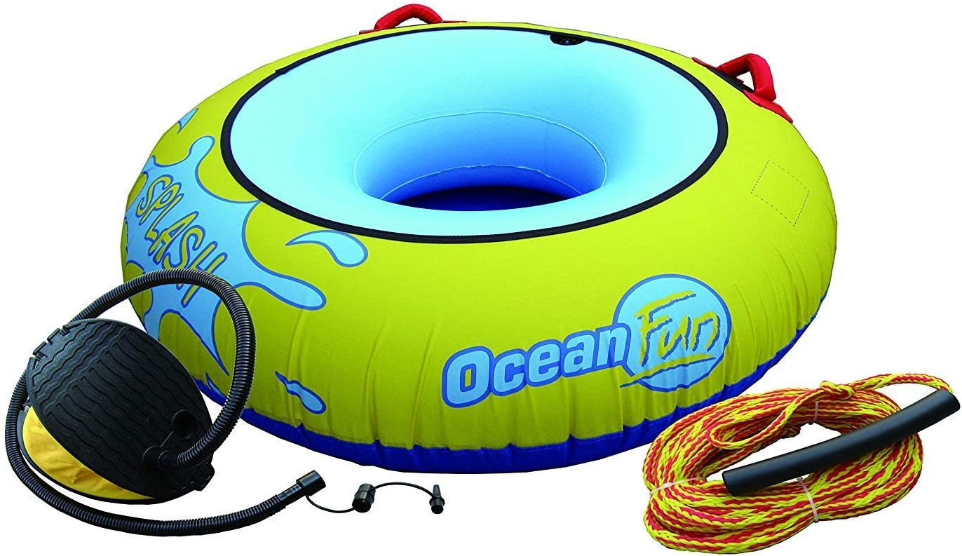 Ocean Fun Diversión Anillo Buñuelo Flotador Inflable Remolque PVC Splash Playa Piscina Mar Barco Adulto Niño Manijas Cuerda 15 m Bomba Diámetro 136 mm