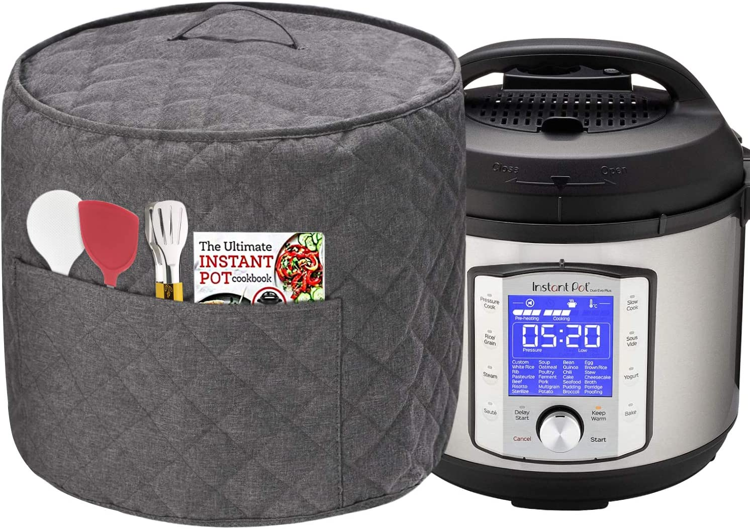 Dust Cover for Instant Pot Pressure Cooker, Cloth Cover with Pockets for Holding Extra Accessories, Waterproof Easy Cleaning,Can Ironable (Dark Gray, For 8 Quart Instant Pot)