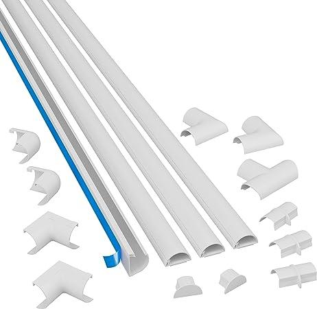 Nouveau ROND NOIR PVC raccords de jonction fil de câble Tidy 20 mm x 25 cm noir long