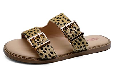 WOMENS DOLCIS JONI LEOPARD FLAT COMFY WALKING SANDALS HOLIDAY MULES SHOES 3-8