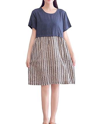 f14b0199c79 YUHEYUHE Women s Casual Summer Loose Knee Length Midi Cotton Linen Dresses