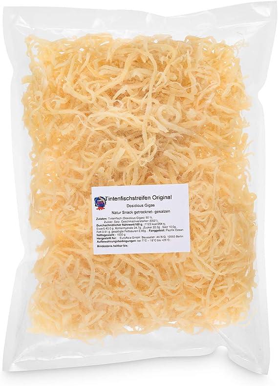 Tiras de calamar - Original (1 Kg XXL Pack) Bocado Natural Bajo en carbohidratos comida de fitness snack, Bocadillo seca Aperitivos de proteína omega ...