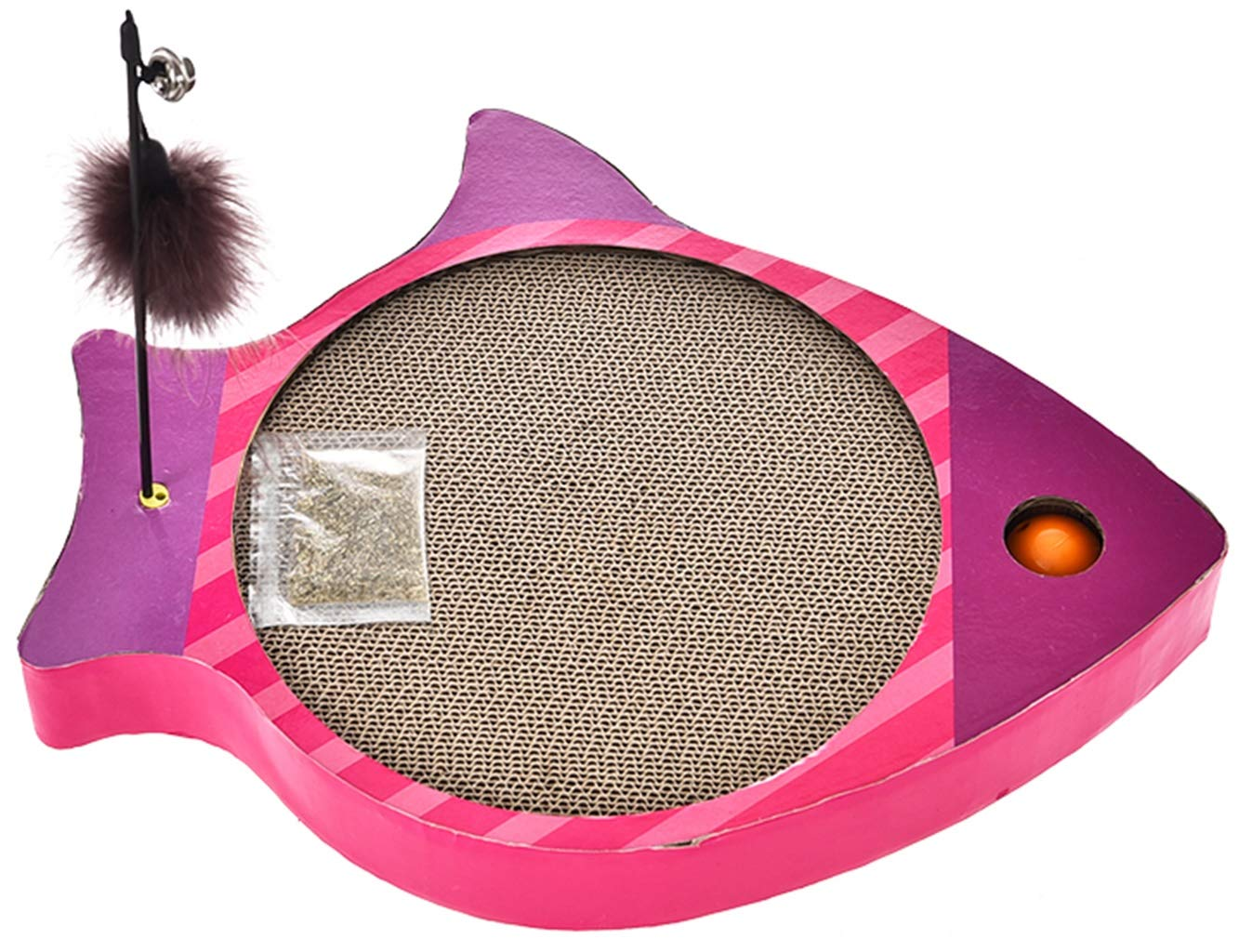 Vacoomcom Scratcher Toy for Cats Pet Fish Shape Cat Scratch Plate Pet Toy Ball Feather Wearable Cat Bell Tickler (Color : B) by Vacoomcom