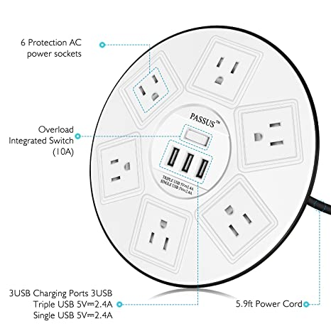 Amazon Com Round Surge Protector Power Strip 6 Outlet And 3 Usb